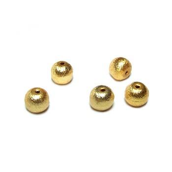 Kupferperle, Kugel, 6mm, Vergoldet, Gebürstet, 1 Stück