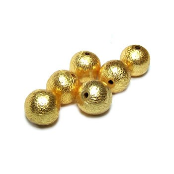 Kupferperle, Kugel, 8mm, Vergoldet, Gebürstet, 1 Stück