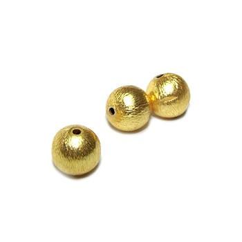Kupferperle, Kugel, 10mm, Vergoldet, Gebürstet, 1 Stück