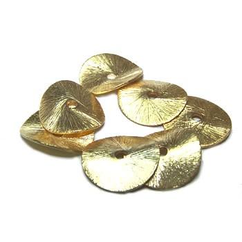 Kupferperle, Scheibe, Gewellt, 14mm, Vergoldet, Gebürstet, 1 Stück
