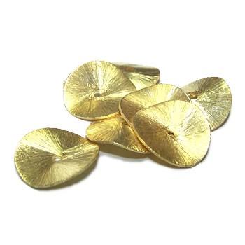 Kupferperle, Scheibe, Gewellt, 16mm, Vergoldet, Gebürstet, 1 Stück