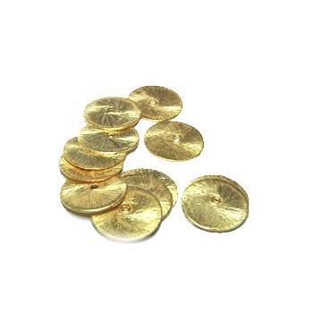 Kupferperle, Scheibe, flach, 12mm, Vergoldet, Gebürstet, 1 Stück