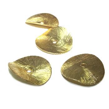 Kupferperle, Scheibe, Gewellt, 20mm, Vergoldet, Gebürstet, 1 Stück