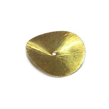 Kupferperle, Scheibe, Gewellt, 30mm, Vergoldet, Gebürstet, 1 Stück