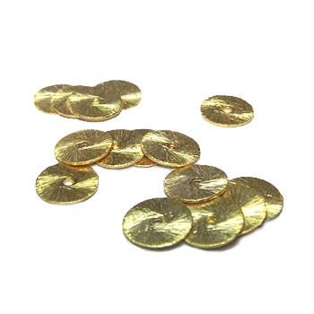 Kupferperle, Scheibe, flach, 8mm, Vergoldet, Gebürstet, 1 Stück