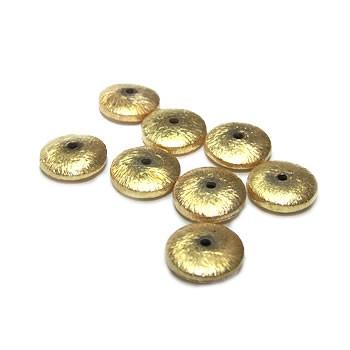 Kupferperle, Diskus flach, 12mm, Vergoldet, Gebürstet, 1 Stück