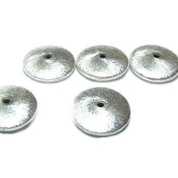 Kupferperle, Diskus flach, 15mm, Versilbert, Gebürstet, 1 Stück