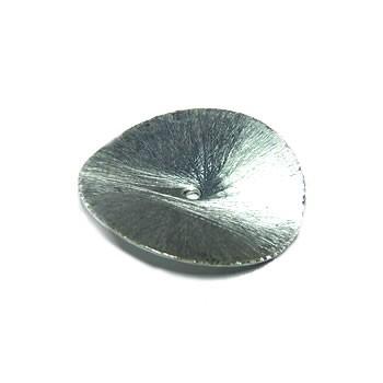 Kupferperle, Scheibe, Gewellt, 25mm, Versilbert, Gebürstet, 1 Stück