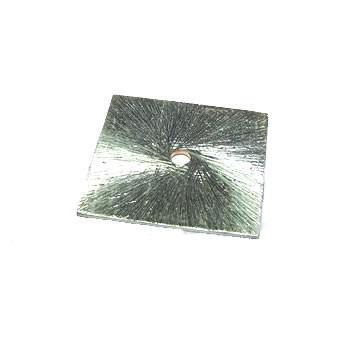 Kupferperle, Viereck, flach, 20mm, Versilbert, Gebürstet, 1 Stück