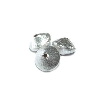 Kupferperle, Diskus, 10mm, Versilbert, Gebürstet, 1 Stück