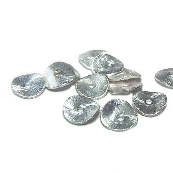 Kupferperle, Scheibe, Gewellt, 12mm, Versilbert, Gebürstet, 1 Stück