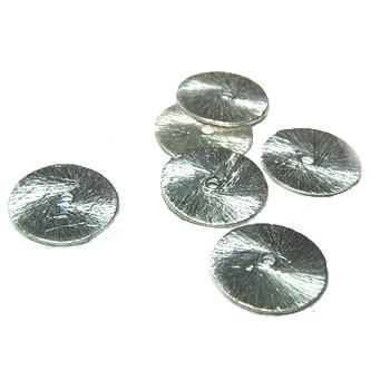 Kupferperle, Scheibe, flach, 10mm, Versilbert, Gebürstet, 1 Stück