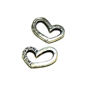 Verbinder, Two Persons, Herzform, Silberfarben, 1 Stück