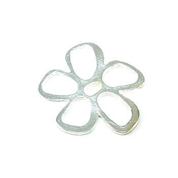 Wechselring, Scheibe, Blume, Metall, 28mm, 1 Stück