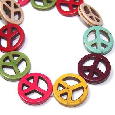 Natursteinperle, Peace, Mix, 2 Stück