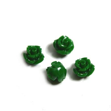 Natursteinperle, Röschen, Grün, 1 Stück