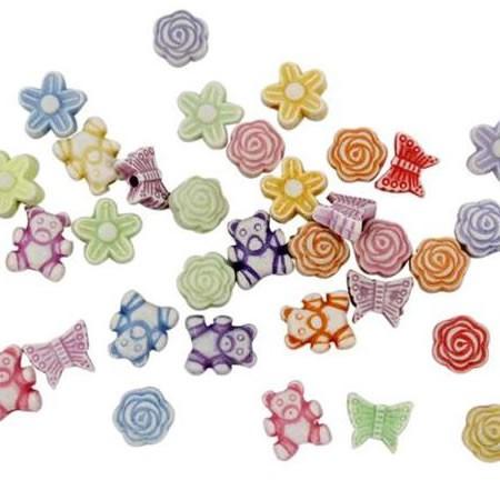 Acrylperlen, Minifigurenmix, 10 Stück
