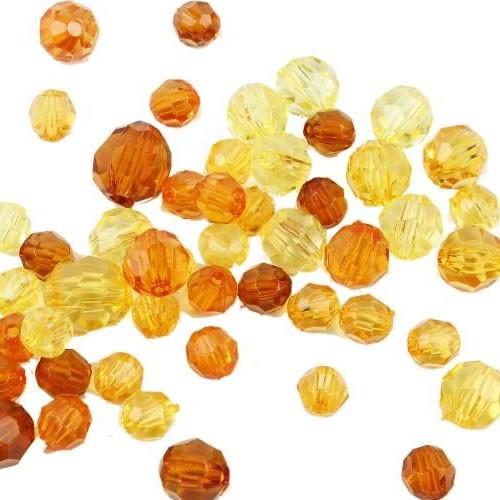 Facettperlenmix, Acrylperlen, Orange, Plastik, 20g