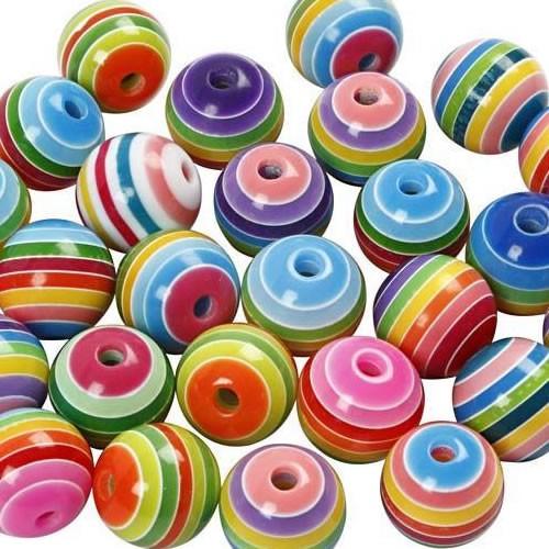 Polyresinperlen, Kunststeinperlen, Rainbow-Mix, 10 Stück