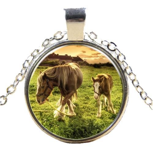 Kette, Pferd mit Fohlen, Silberfarben, 1 Stück