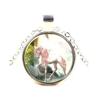 Kette, Pferd, Einhorn, Heller Hintergrund, Silberfarben, 1 Stück