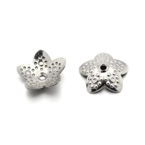 Perlkappe, Blume, Punkte, 10mm, 304 Edelstahl, 1 Stück