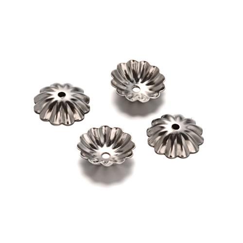 Perlkappe, Blume, 10mm, 304 Edelstahl, 1 Stück