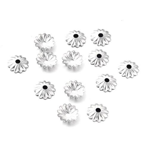 Perlkappe, 316 Edelstahl, Blume Vielblättrig, 6/1mm, 100 Stück
