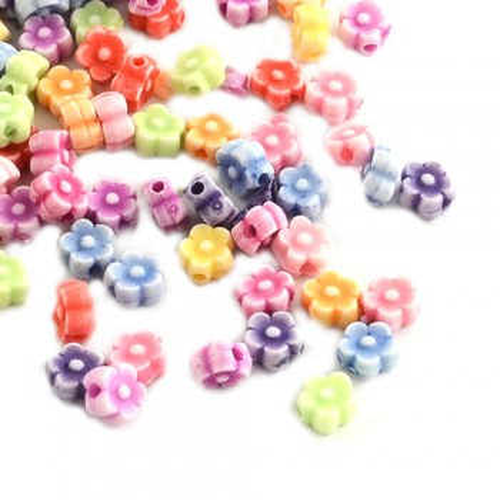 Acrylperlen, Blumen, Farbmix, 100 Stück
