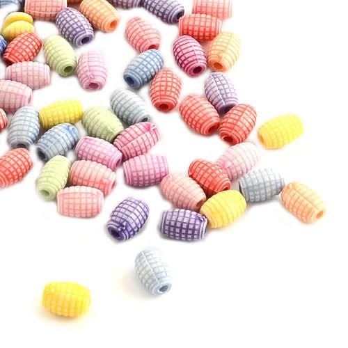 Acrylperlen, Fässchen, Farbmix, 100 Stück