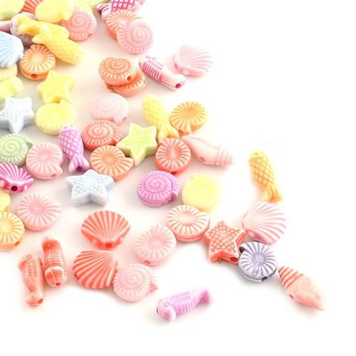 Acrylperlen, Meerestiere, Farbmix, 100 Stück