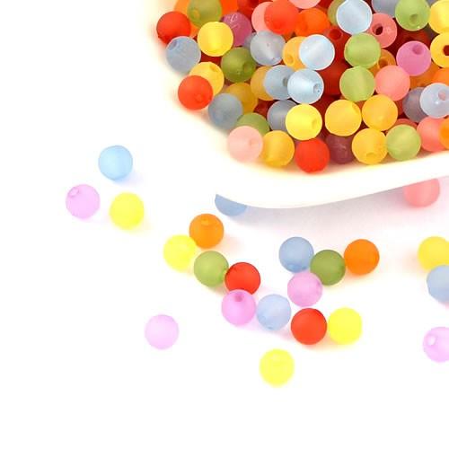 Acrylperlen, Transparent, Gefrostet, 6mm, Farbmix, 100 Stück