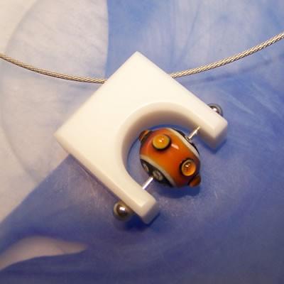 Corian-Wechselanhänger, Weiß, Quergeborht, Silberfarben