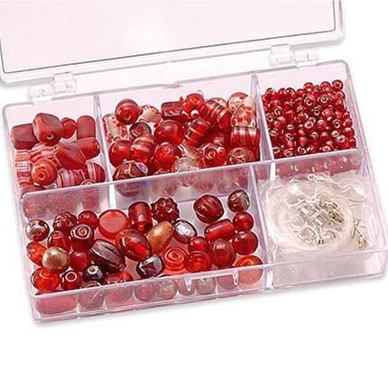 Sortimentsbox, Glasperlen, Rot, 1 Box