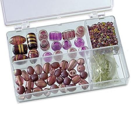 Sortimentsbox, Glasperlen, Lila, 1 Box