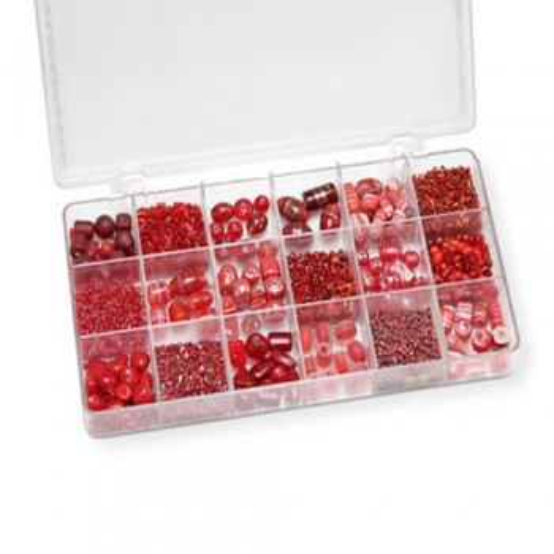 Sortimentsbox, Glasperlen, Groß, Rot, 1 Box