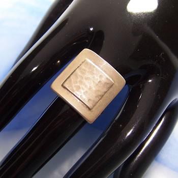 Fingerring aus Silber, Viereck, Gehämmert, 950 Silber