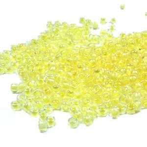 Rocailles, 2mm, inside color, Gelb, 20g