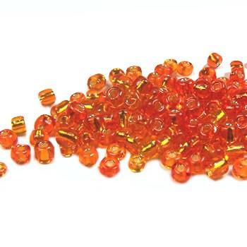 Rocailles, 3,5mm, Orange, Silbereinzug, 20g
