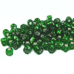 Rocailles, 3,5mm, Grün, Silbereinzug, 20g