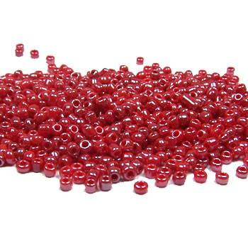 Rocailles, 2mm, opak/lüster, Rot, 20g