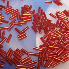 Stiftrocailles, 6mm, Rot/Silbereinzug, 20g