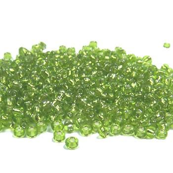 Rocailles, 2mm, Hellgrün, Silbereinzug, 20g
