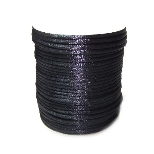 Satinkordel, Schwarz, Glänzend, 2mm, 1 Meter