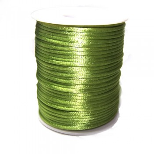 Satinkordel, Grün, Glänzend, 2mm, 1 Meter