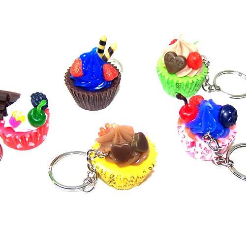 Cupcake-Schlüsselanhänger, Multifarbig, 1 Stück