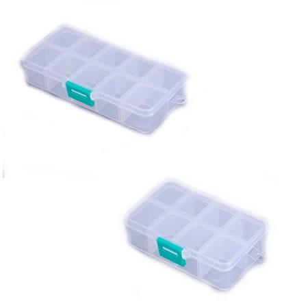 Kunststoff Aufbewahrungsbox, 10 Fächer, Transparent, 1 Stück