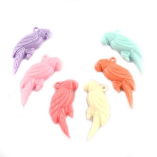 Acryl-Anhänger, Papagei, Opak, Farbenmix, 4 Stück