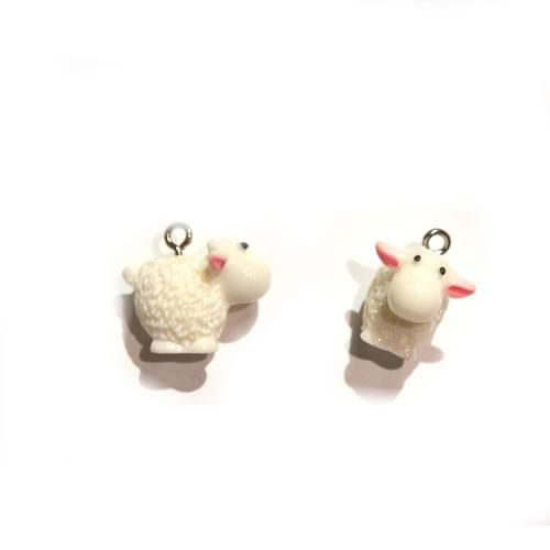 Kunststoffanhänger, Schaf, Weiß, 20x17mm, 1 Stück