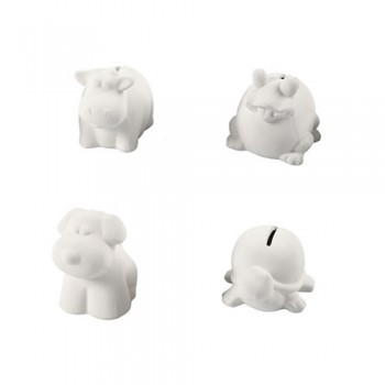 Tierspardosen, H: 7-10 cm, Weiß, 4Stck